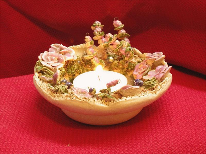 Souvenir Kerzenhalter mit Rosen