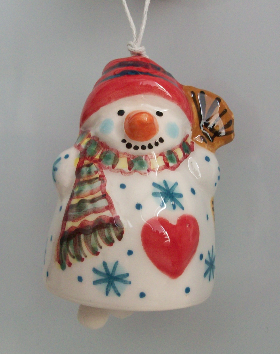 Christmas souvenir Snowman with a warm heart